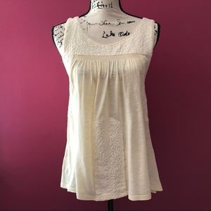 Free People Cream Embroidered Scoop Neck Tank Top